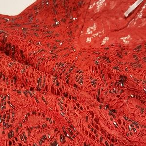 Free People Dresses - NWT FREE PEOPLE RED LACE & SEQUIN TRAPEEZ DRESS